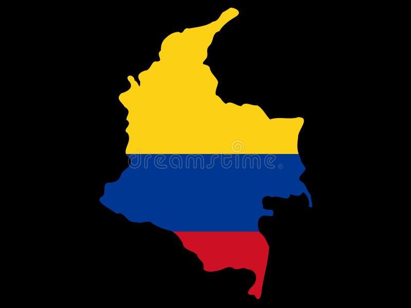Kaart van Colombia stock illustratie