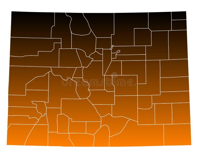 Kaart van Colorado royalty-vrije illustratie