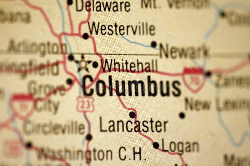 Kaart van Columbus Ohio stock afbeeldingen