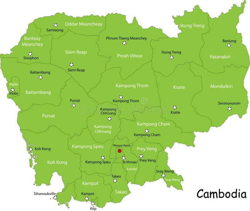 Kaart van Combodia vector illustratie