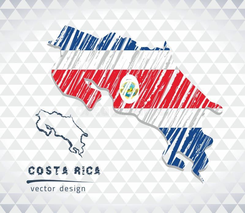 Kaart van Costa Rica met de hand getrokken binnen kaart van de schetspen Vector illustratie royalty-vrije illustratie
