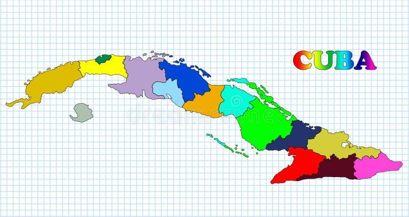 Kaart van Cuba stock illustratie