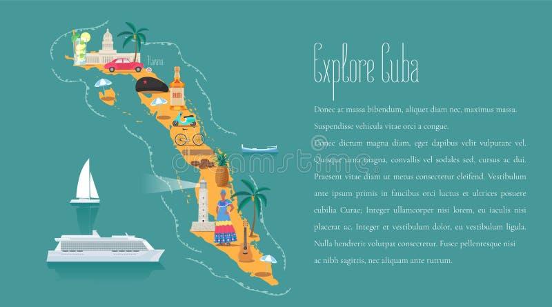 Kaart van Cuba in de vectorillustratie van het artikelmalplaatje, ontwerpelement royalty-vrije illustratie