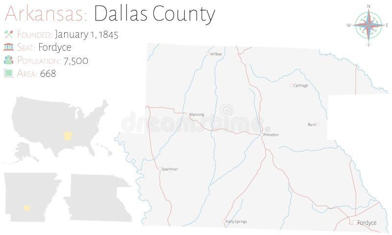 Kaart van Dallas County in Arkansas vector illustratie