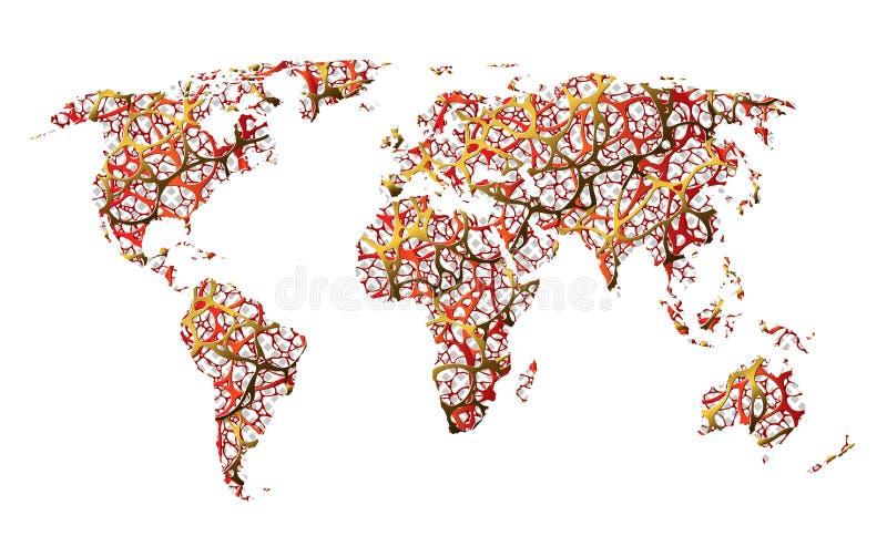 Kaart van de aarde, de mededeling, netto, de wegen of de abstractie royalty-vrije illustratie