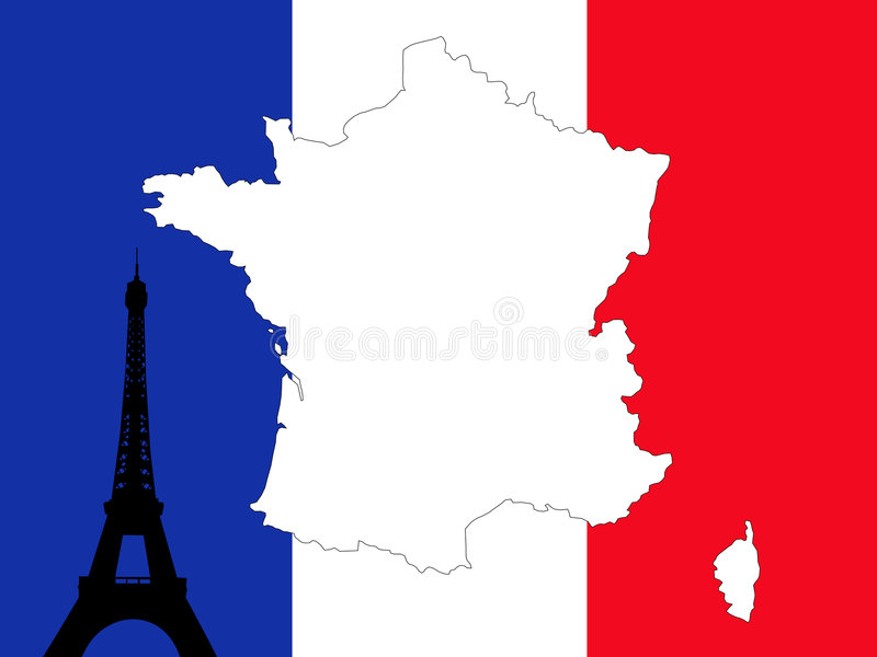 Kaart van de achtergrond van Frankrijk royalty-vrije illustratie