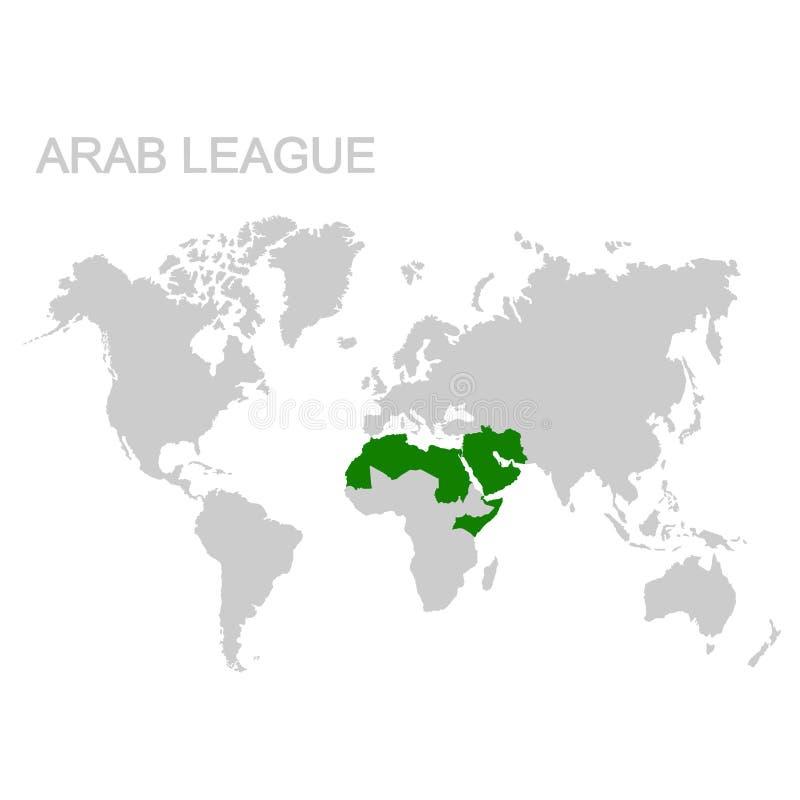 kaart van de Arabische Liga vector illustratie