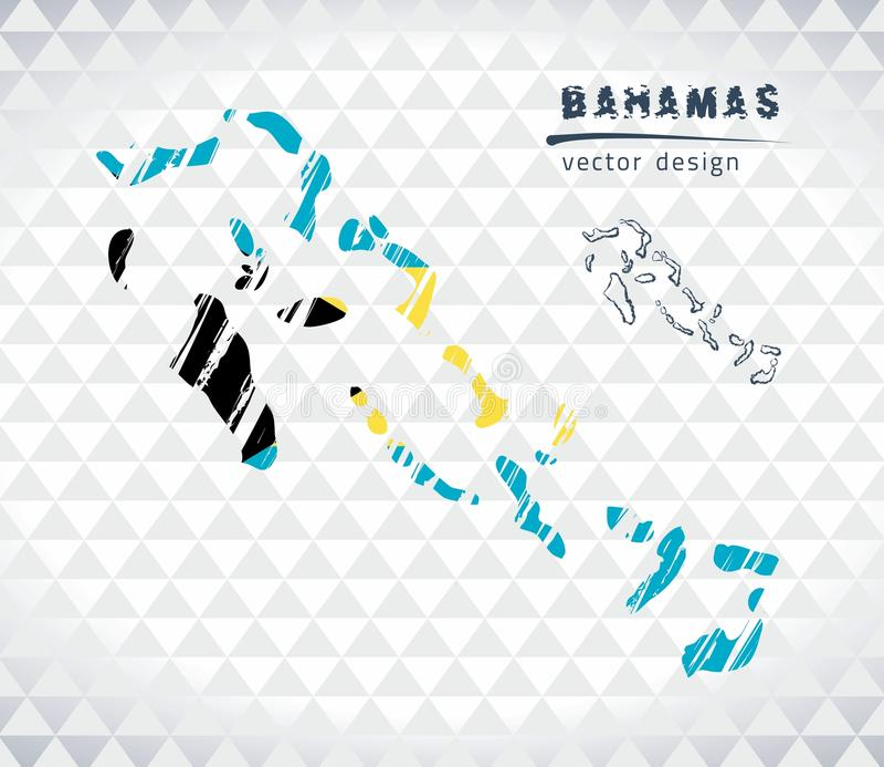 Kaart van de Bahamas met de hand getrokken binnen kaart van de schetspen Vector illustratie royalty-vrije illustratie