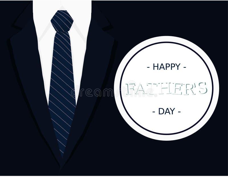 Kaart van de de bannergroet van de vadersdag de kalligrafische met donkerblauw band lichtgrijs wit overhemd en marineblauwe blaze royalty-vrije illustratie