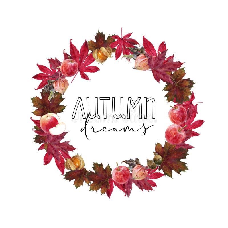 Kaart van de de bladerenontwerpsjabloon van de waterverf de hand getrokken herfst vector illustratie