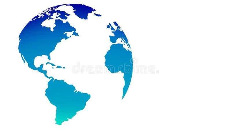 Kaart van de bol de blauwe wereld op witte achtergrond royalty-vrije illustratie