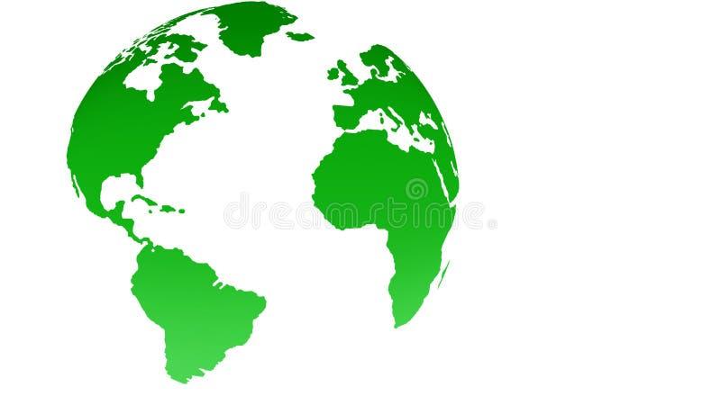 Kaart van de bol de groene wereld op witte achtergrond vector illustratie
