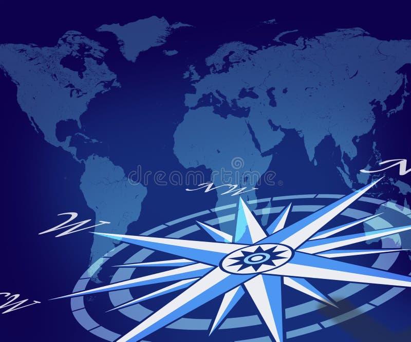 Kaart van de bol met kompas royalty-vrije illustratie