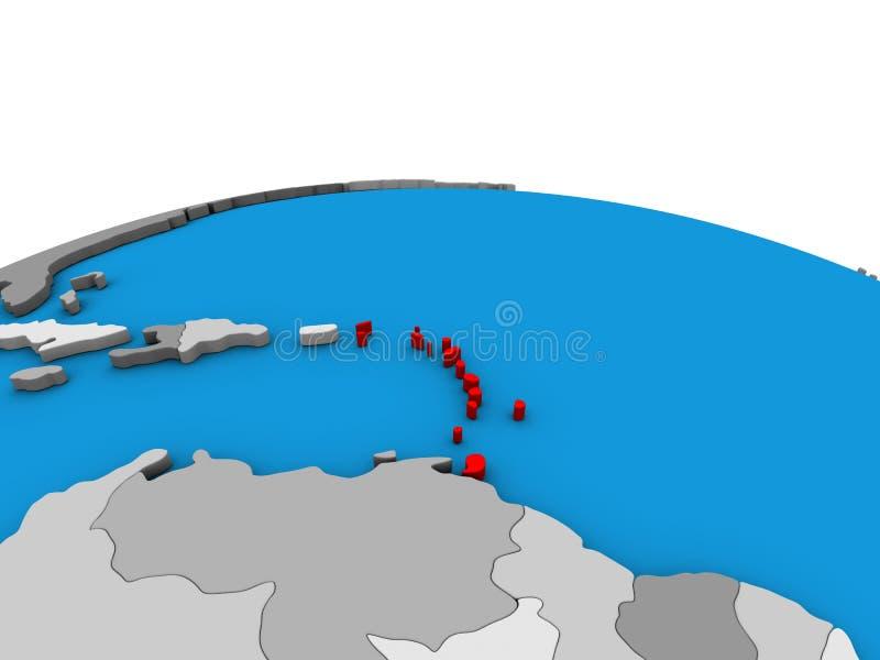 Kaart van de Caraïben op 3D bol vector illustratie