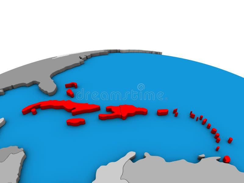 Kaart van de Caraïben op 3D bol royalty-vrije illustratie