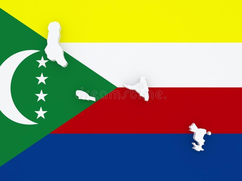 Kaart van de Comoren royalty-vrije illustratie