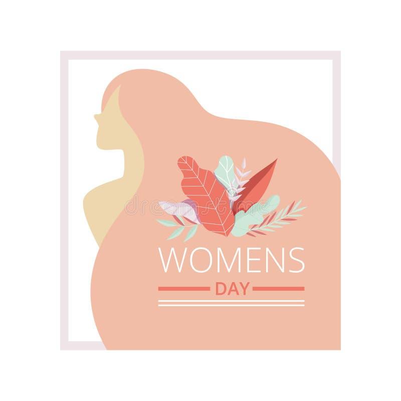 Kaart van de de Dag de Bloemengroet van vrouwen met Mooie Vrouw, Partijuitnodiging, Feestelijke Banner Vectorillustratie royalty-vrije illustratie