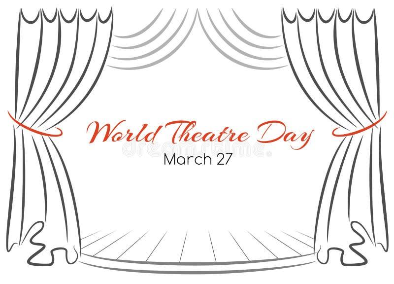 Kaart van de de dag de vectorgroet van het wereldtheater met gordijnen en scène stock illustratie