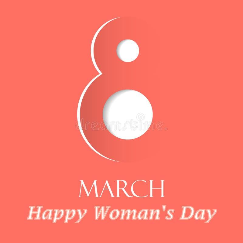 Kaart van de de dag de vectorgroet van vrouwen met decor van document besnoeiingsaantal 8 maart symbool in in kleur stock foto's