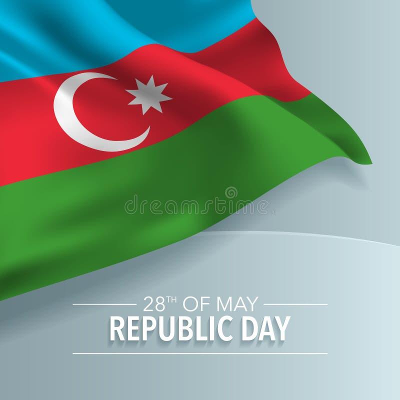 Kaart van de de daggroet van de republiek van Azerbeidzjan de gelukkige, banner, vectorillustratie royalty-vrije illustratie