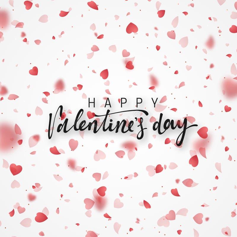 Kaart van de de Dag de van letters voorziende Groet van gelukkig Valentine vector illustratie