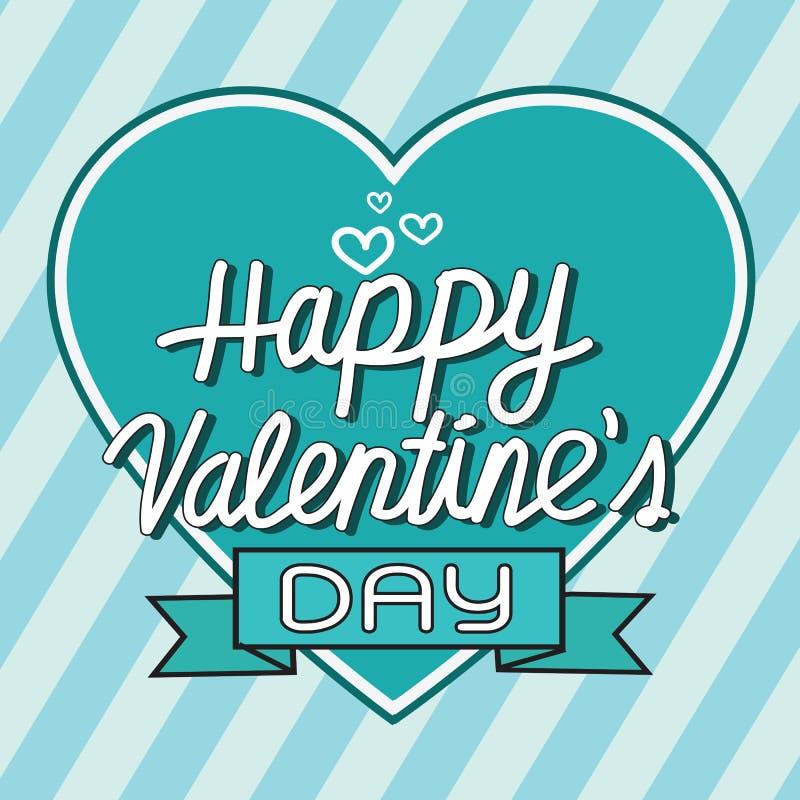 Kaart van de de Dag de van letters voorziende Groet van gelukkig Valentine met hart, vecto stock illustratie