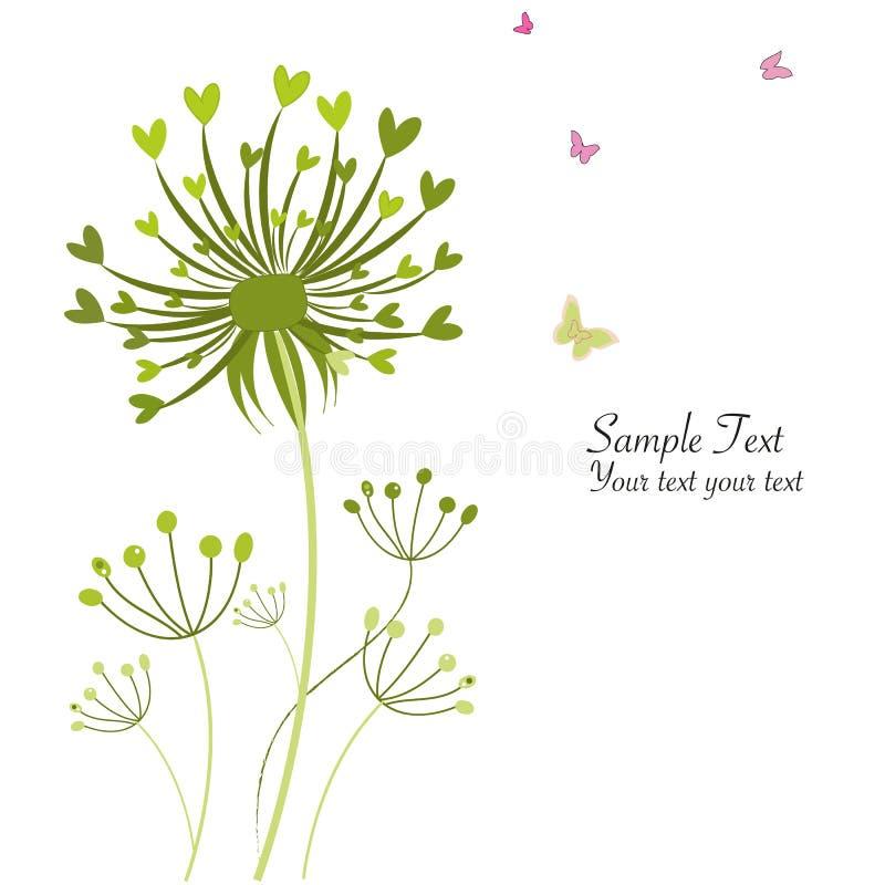 Kaart van de de paardebloemengroet van de de lentevlinder de bloemen royalty-vrije illustratie