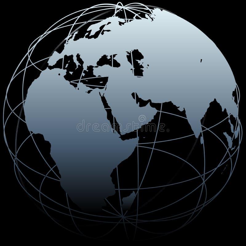 Kaart van de de wereldlengte van de Aarde van de bol de Oostelijke op zwarte vector illustratie