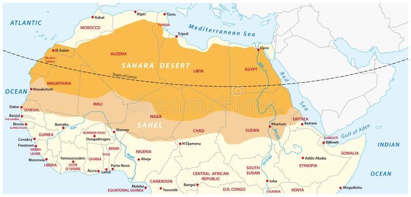 Kaart van de de woestijn van de Sahara en streek van de Sahel stock illustratie