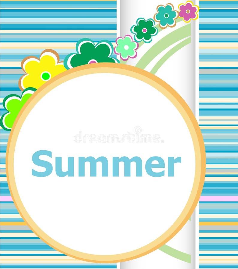 Kaart van de de zomer de bloemenuitnodiging geplaatste de zomervakantie, bloemen en abstracte lijnen vector illustratie