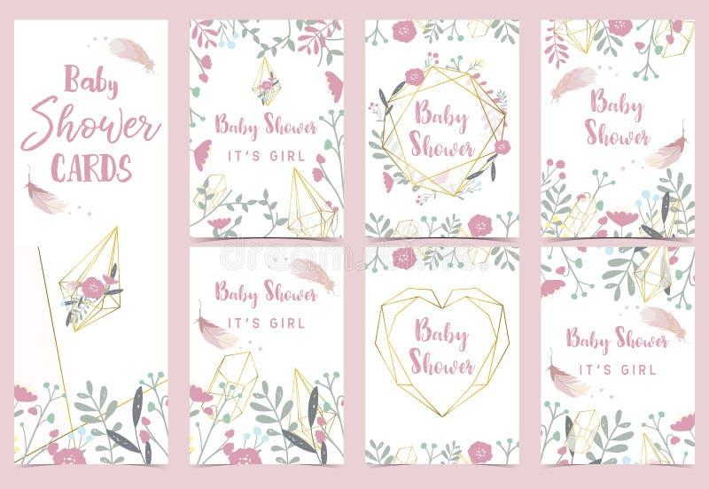 Kaart van de de doucheuitnodiging van de meetkunde de roze gouden baby met roze, blad, dreamcatcher, kroon, hart vector illustratie
