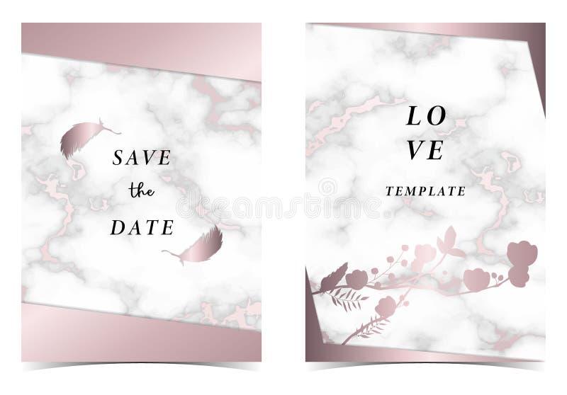 Kaart van de het huwelijksuitnodiging van het meetkunde de roze gouden overzicht met roze, blad, kroon, veertekening en kader vector illustratie