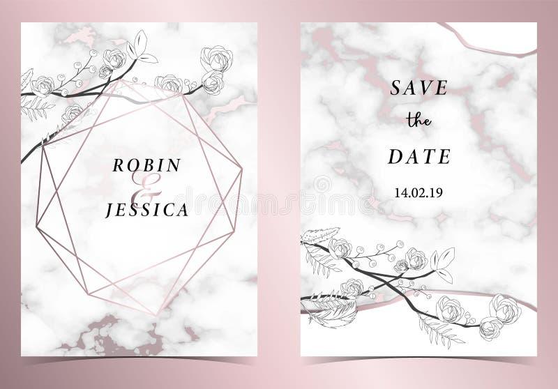 Kaart van de het huwelijksuitnodiging van het meetkunde de roze gouden overzicht met roze, blad, kroon, veertekening en kader royalty-vrije illustratie