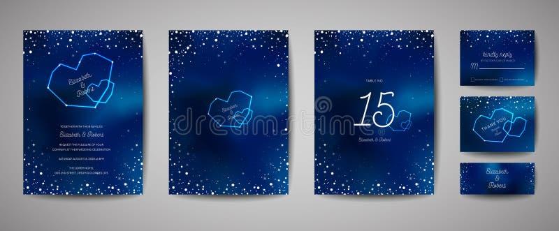 Kaart van de het Huwelijksuitnodiging van de sterrige Nachthemel de In, sparen de Datum Celestial Template met Melkweg, Ruimte, S royalty-vrije illustratie