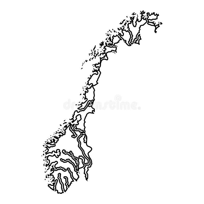 Kaart van van de het pictogram het zwarte kleur van Noorwegen beeld van de de illustratie vlakke stijl vector stock illustratie