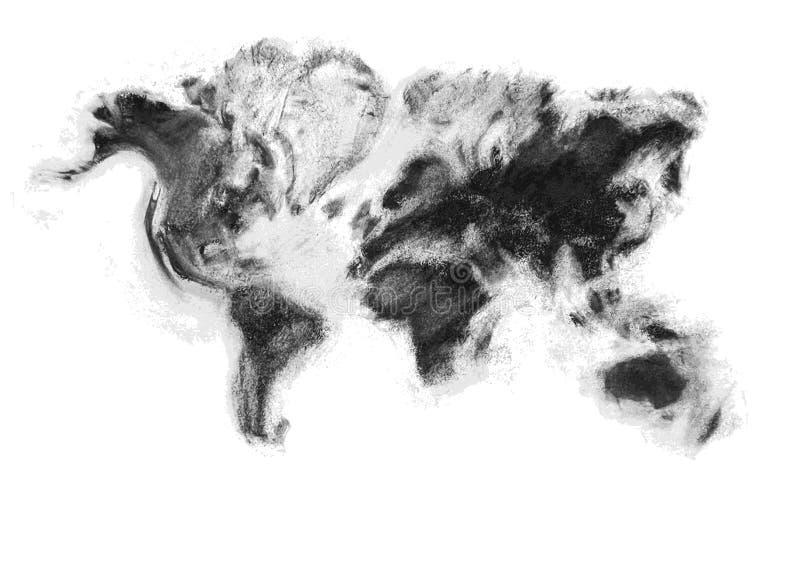 Kaart van de houtskool de artistieke vectorwereld royalty-vrije illustratie