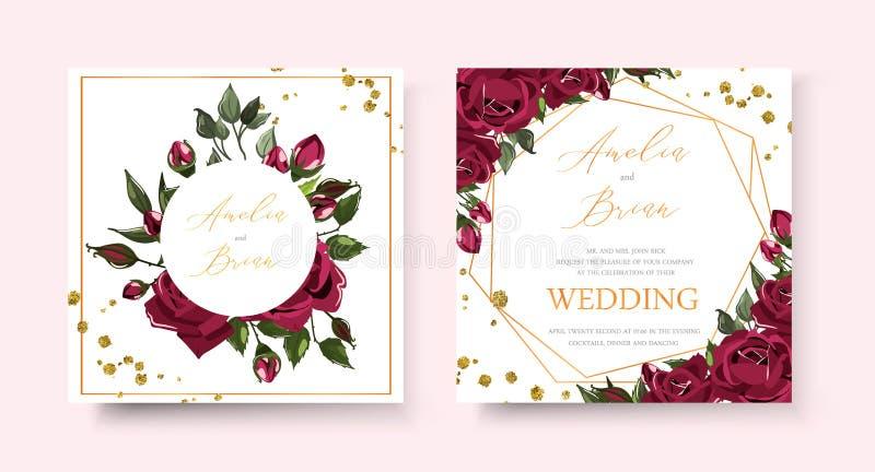 Kaart van de huwelijks bewaart de bloemen gouden uitnodiging het datumontwerp met bordo marineblauwe rozen vector illustratie