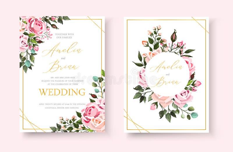 Kaart van de huwelijks bewaart de bloemen gouden uitnodiging het datumontwerp met roze bloemenrozen stock illustratie