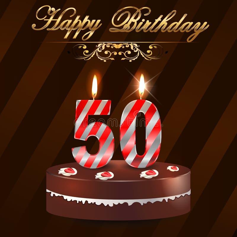 Kaart van de 50 jaar de Gelukkige Verjaardag met cake en kaarsen, 50ste verjaardag vector illustratie