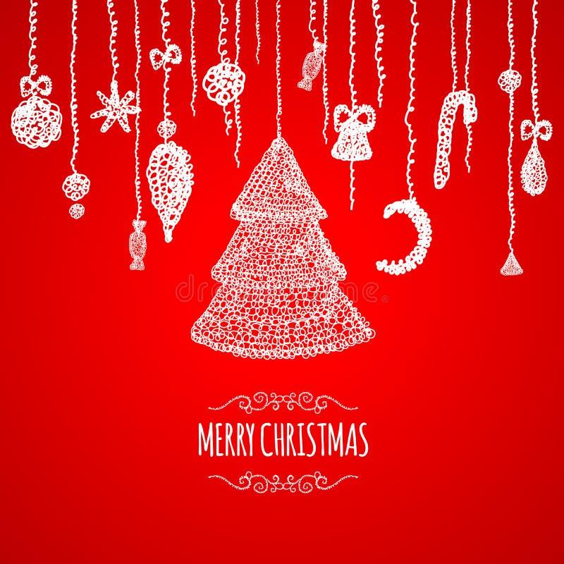 Kaart van de Kerstmis de rode groet met het hangen van snuisterij stock illustratie