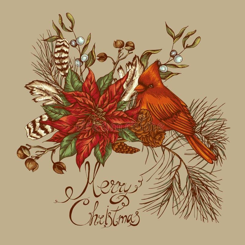 Kaart van de Kerstmis de uitstekende bloemengroet royalty-vrije illustratie