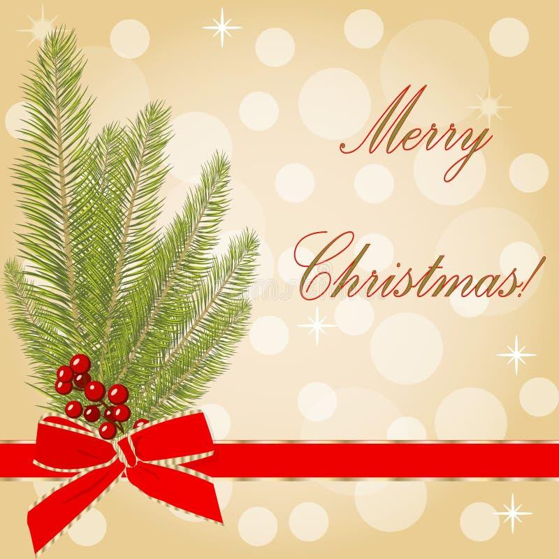 Kaart van de Kerstmis de Vectorgroet met Kerstboom stock illustratie