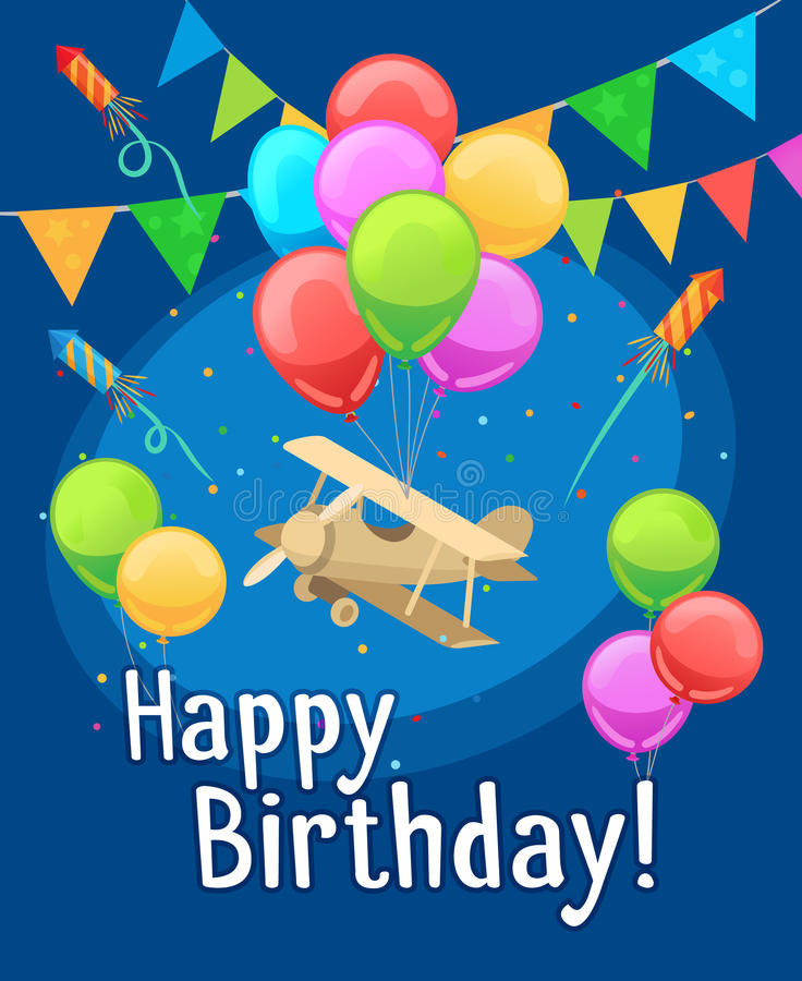 Zeer Kaart Van De Kinderen De Gelukkige Verjaardag Met Ballons Vector  @ZY75