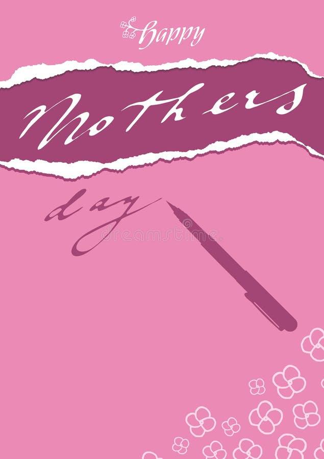 Kaart van de krabbel de bloemen purpere roze groet aan moeder` s dag met pen royalty-vrije illustratie