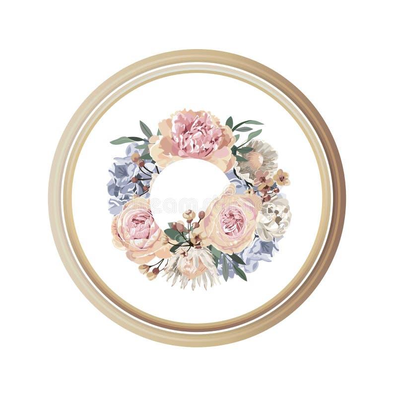 Kaart van de luxe de bloemengroet met oranje, roze en purpere bloemen op witte achtergrond en houten cirkelkader vector illustratie