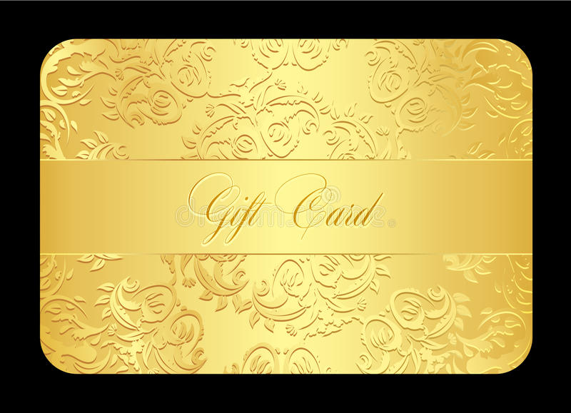 Kaart van de luxe de gouden gift met rond gemaakt kant royalty-vrije illustratie