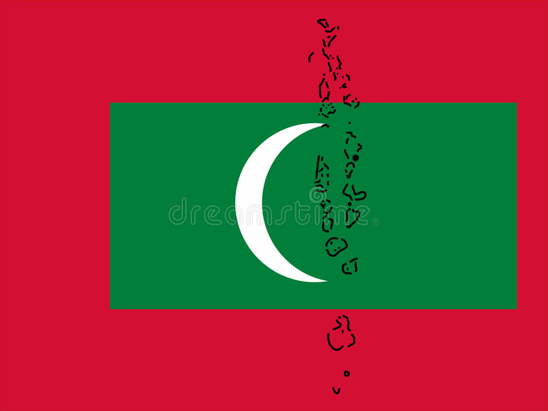 Kaart van de Maldiven royalty-vrije illustratie