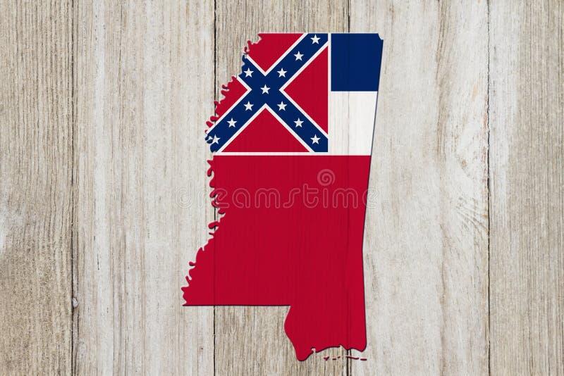 Kaart van de Mississippi in de de vlagkleuren van de Mississippi stock afbeeldingen
