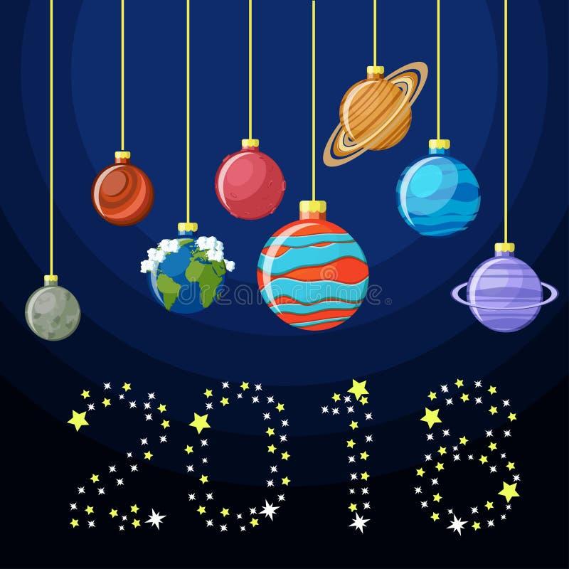 Kaart van de nieuwjaar de decoratieve groet met Zonnestelselplaneten als Kerstmisballen en het woord 2017 gemaakt van sterren stock illustratie