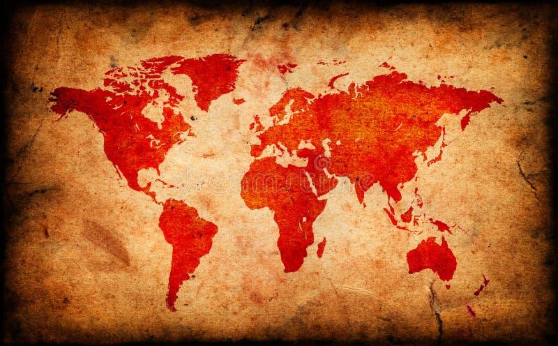 Kaart van de oude wereld op Grunge-document textuur vector illustratie